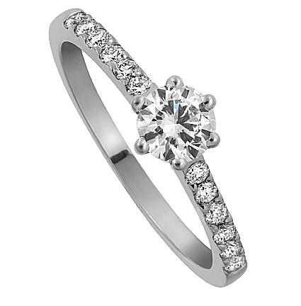 Enstensring Windsor i 18k Vitguld med diamanter på sidorna. Av Juvelerare David Harper.