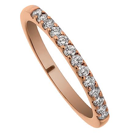 Alliansring Soho med 13st diamanter i 18k roseguld. Av Juvelerare David Harper.