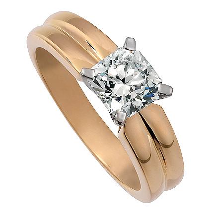 Enstensring Mayfair med en Flandersslipade diamant i 18k Gulguld och vitguld. Av Juvelerare David Harper.