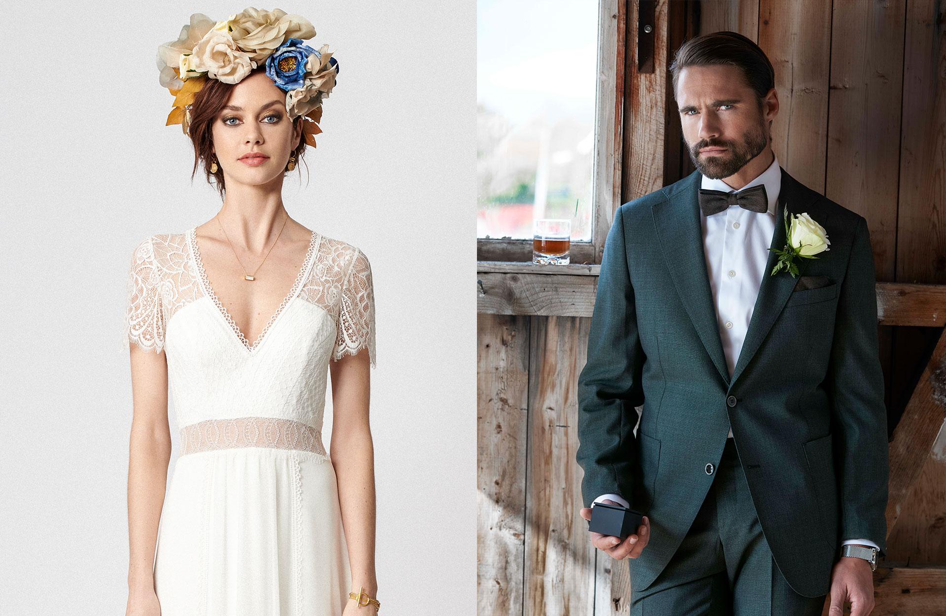 brudklänning, bröllopsklänning, herrkläder