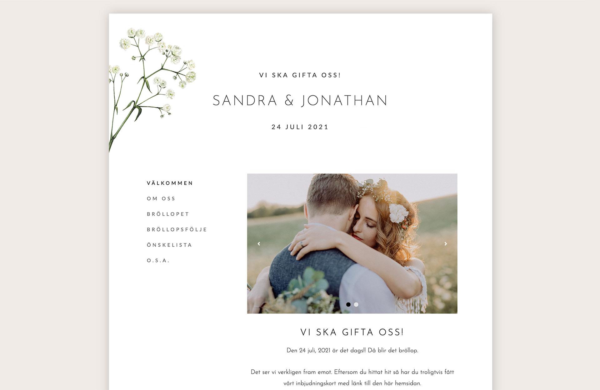 Min bröllopssajt - bröllopshemsida
